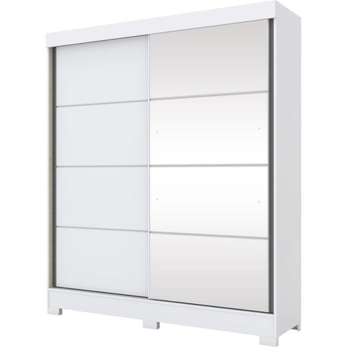 Roupeiro 02 Portas Deslizantes Branco/Branco/Rosa Chá - Briz