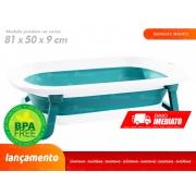 Banheira Infantil Dobrável Ofurô Luxo Azul Baby Flex 35 Litros