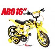 Bicicleta Infantil Unitoys Moto Cross Aro 16 Amarela (1173)