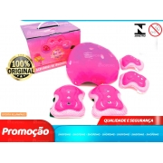 Kit de proteção Infantil Com Capacete Infantil Cotoveleira Joelheira Munhequeira Rosa