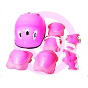 Kit Proteção Infantil Com Capacete Turma Aventura Segurança Rosa