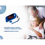 Oxímetro Digital Dedo Saturação Oled - Azul Certificado