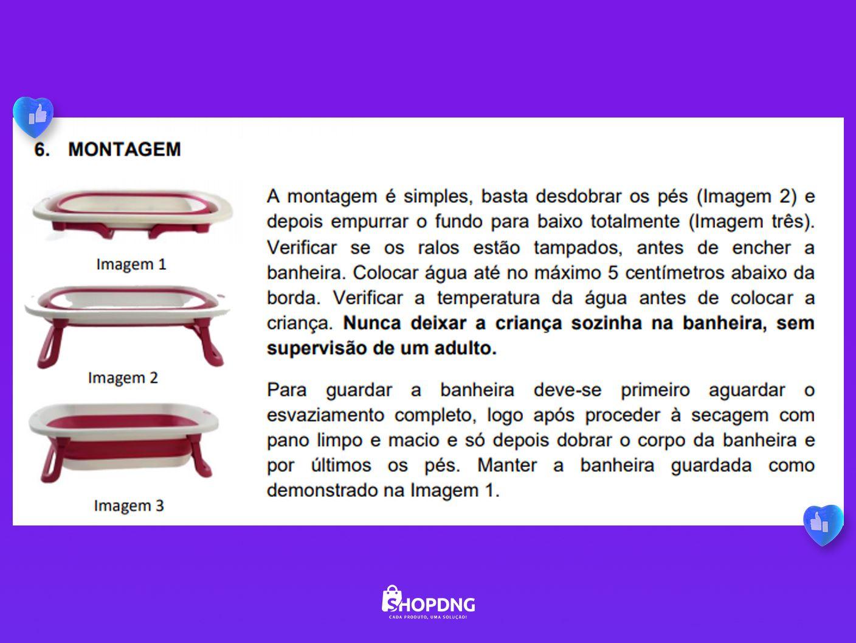 Banheira Infantil Dobrável Ofurô Luxo Rosa Baby Flex 35 Litros