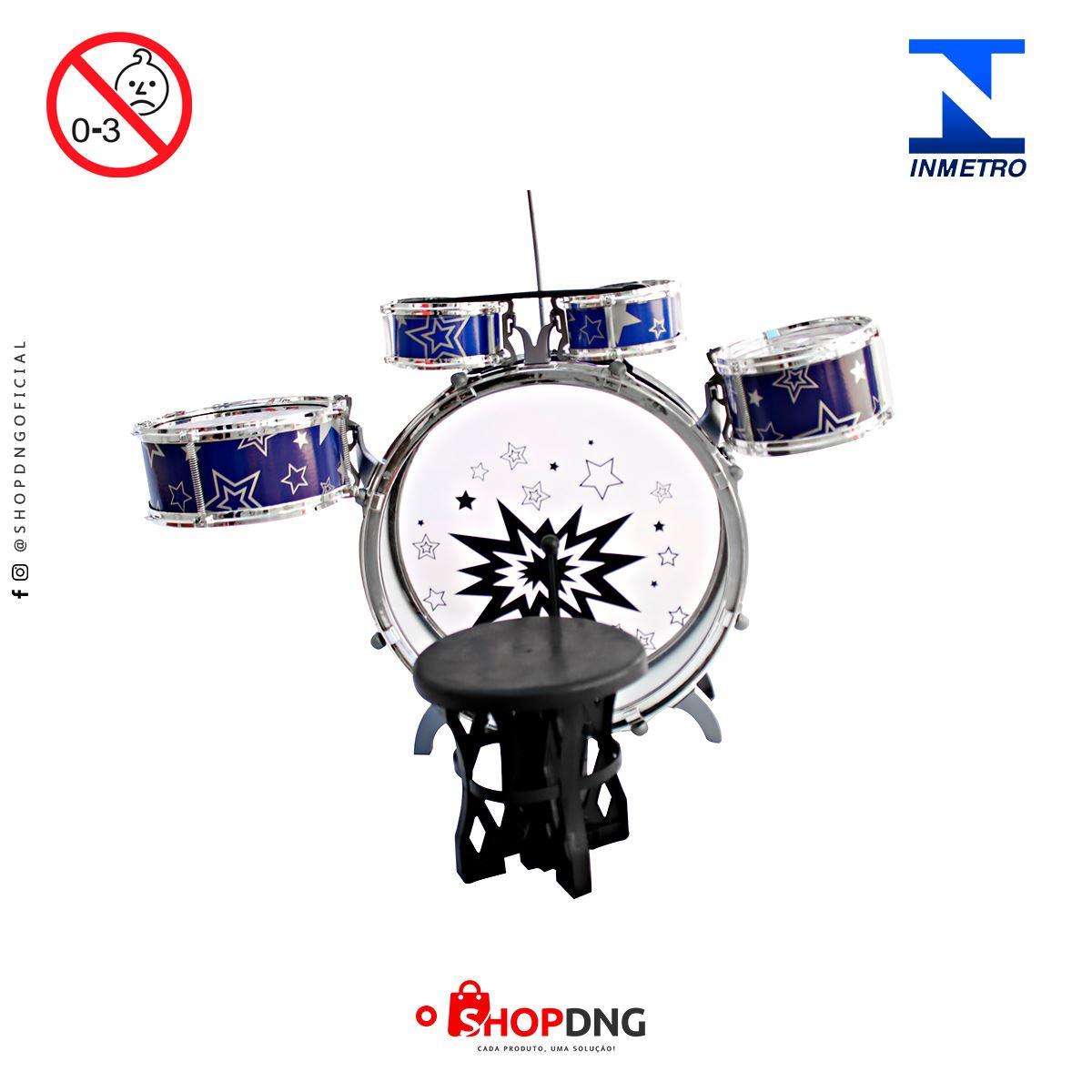 Bateria Infantil Rock Star com banco Importway - BW039 - Azul