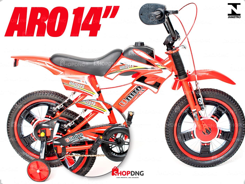 Bicicleta Infantil Moto Cross Aro 14 Freios V-brakes Cor Vermelho(1506)