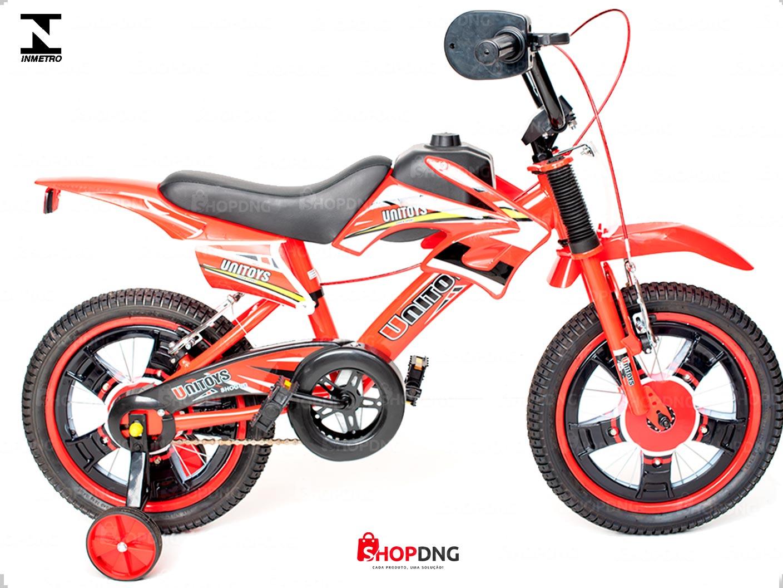 Bicicleta Infantil Unitoys Moto Cross Aro 16 Freios V-brakes vermelho (1172)