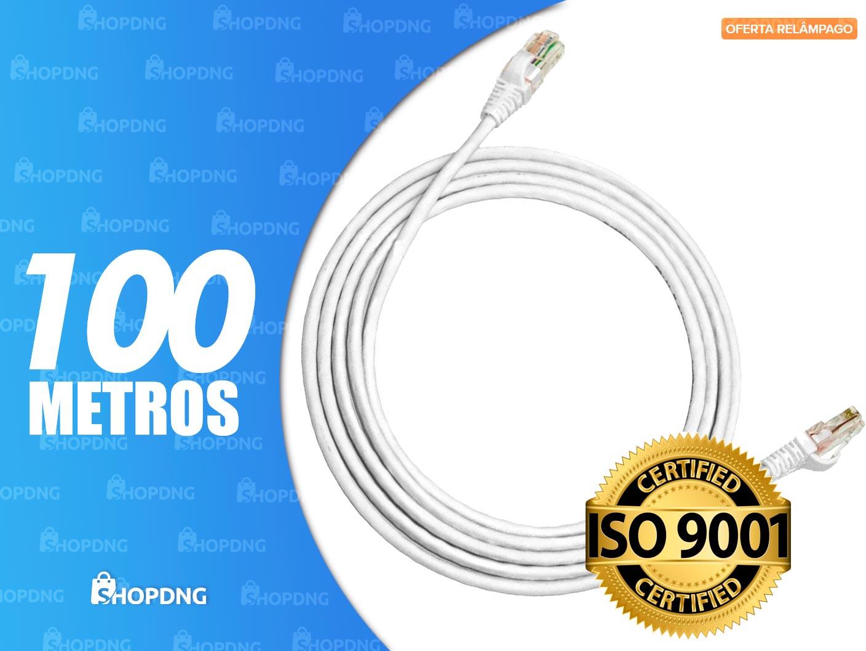 Cabo De Rede 100 metros Branco Internet Profissional Montado