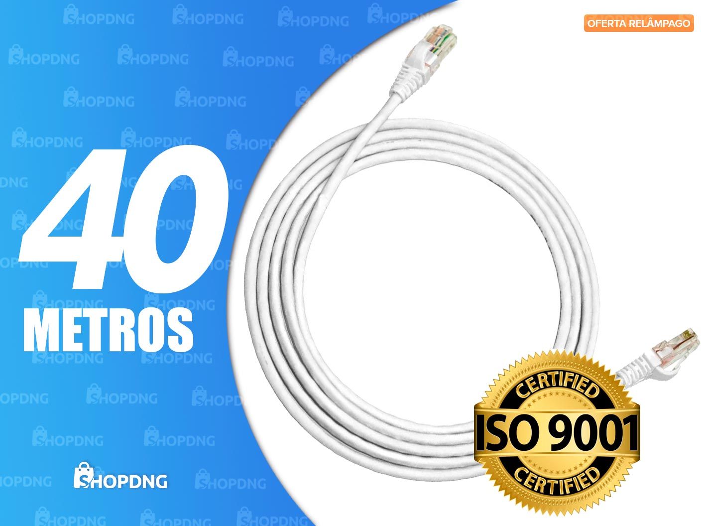 Cabo De Rede 50 metros Branco Internet Profissional Montado