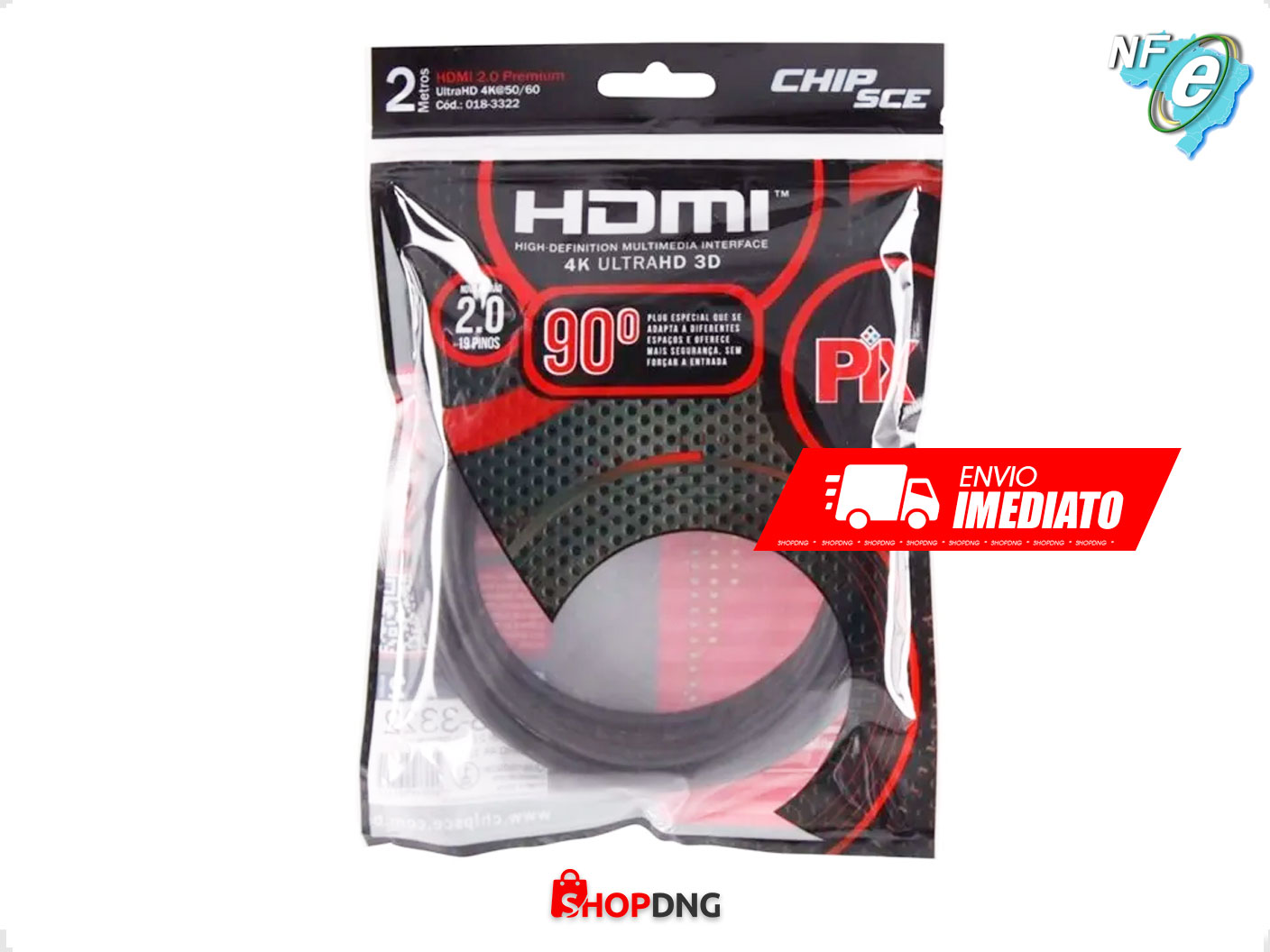 Cabo HDMI 2 90° 4K Ultra HD 3D ChipSce - 19 pinos - 2Metros
