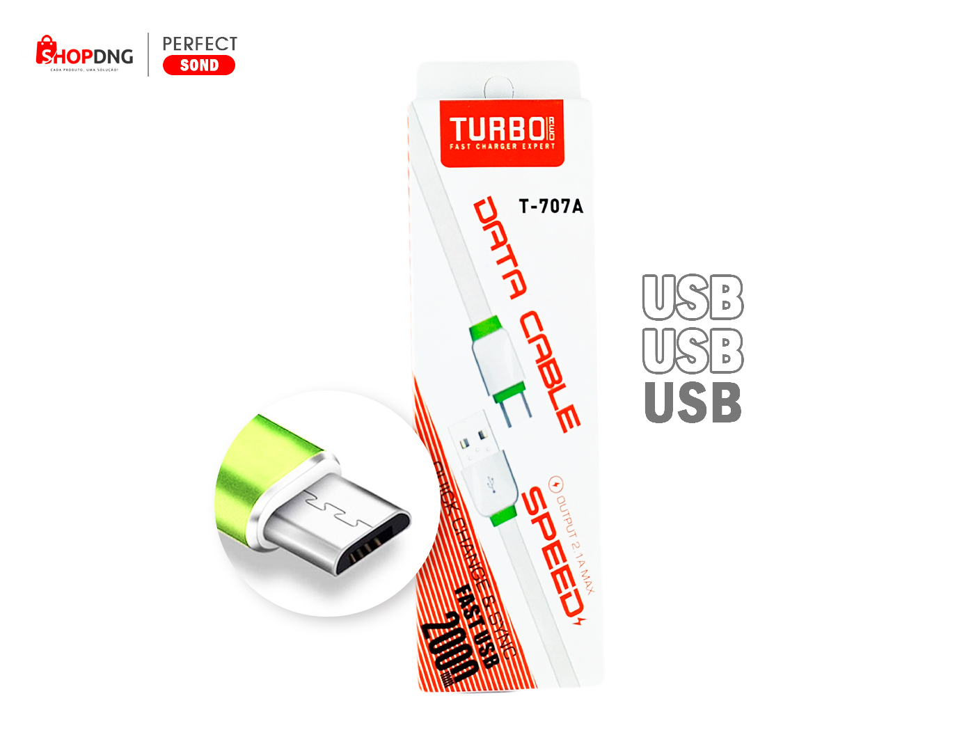 Cabo USB V8 Para Android 2.1A Max Quick Turbo 2m - T707A