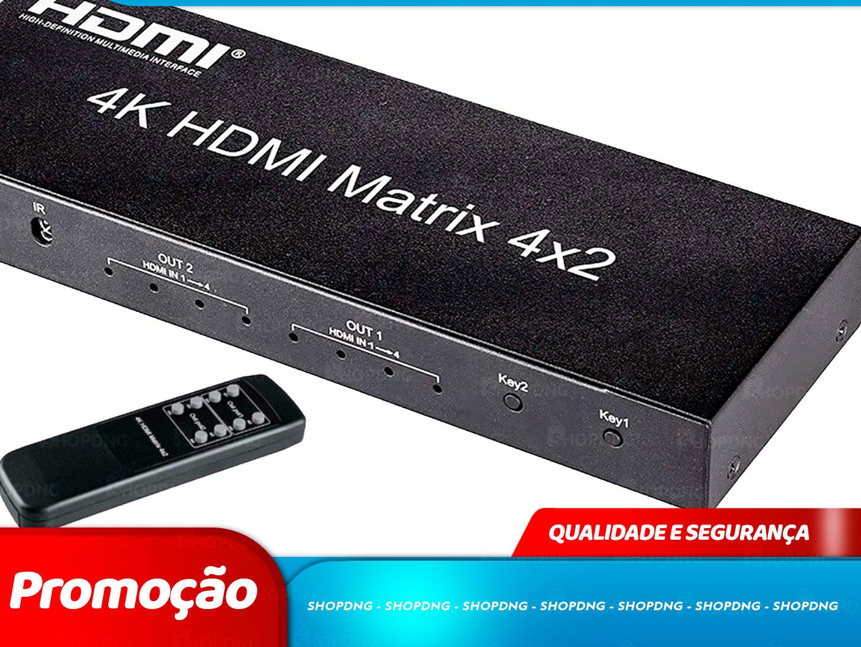 Divisor Matrix Hdmi 4x2 4k 3d  Com Controle Remoto