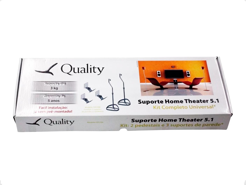 Kit 3 Suportes + 2 Pedestal Caixa De Som Home Theater Qs100