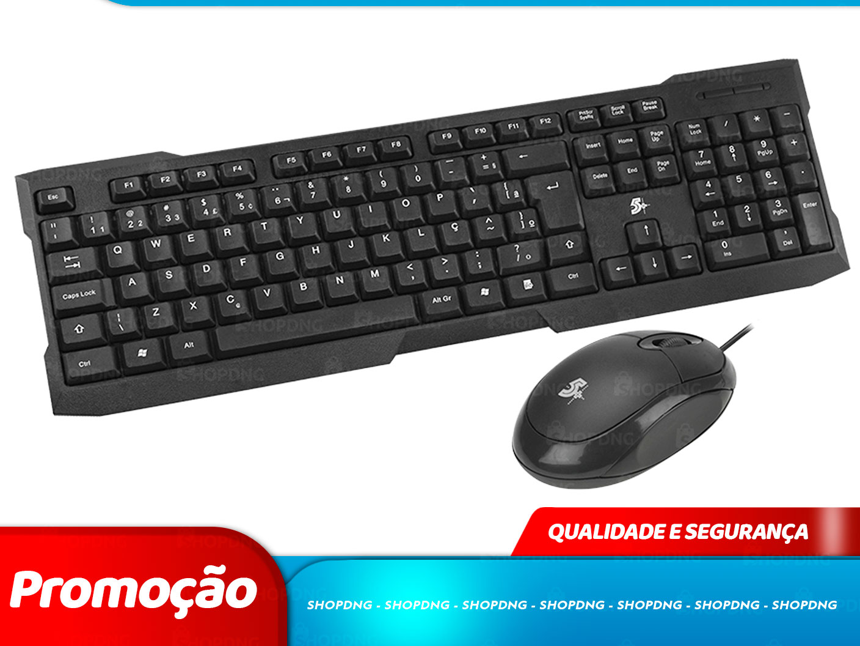 Kit Mouse e Teclado USB0 5+ KC-500 Preto ABNT2 (15-0069)