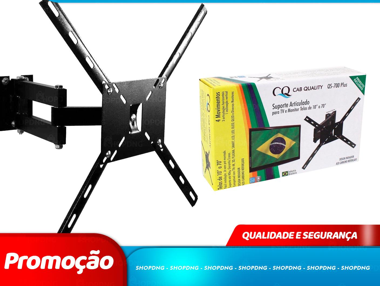 """Suporte Para TV Monitor Articulado 4 Movimentos Parede 10 a 70"""" (QS700-PLUS)"""