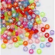 140 Miçanga Cristal Colorida com LETRAS BRANCAS/ Bijuterias / DIY / Infantil / Alfabeto / 20g