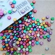 140 Miçangas Metalizadas Coloridas com letras /Bijuteria/Choker