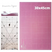 Kit iniciante Rosa 30x45 + Tesoura Titânio + Régua + Lamina