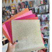 5 Folhas Paper Glitter - Scrapbook