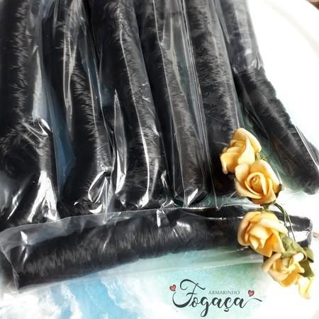 Cabelo Kanekalon preto - cabelinho de anjo - Boneca