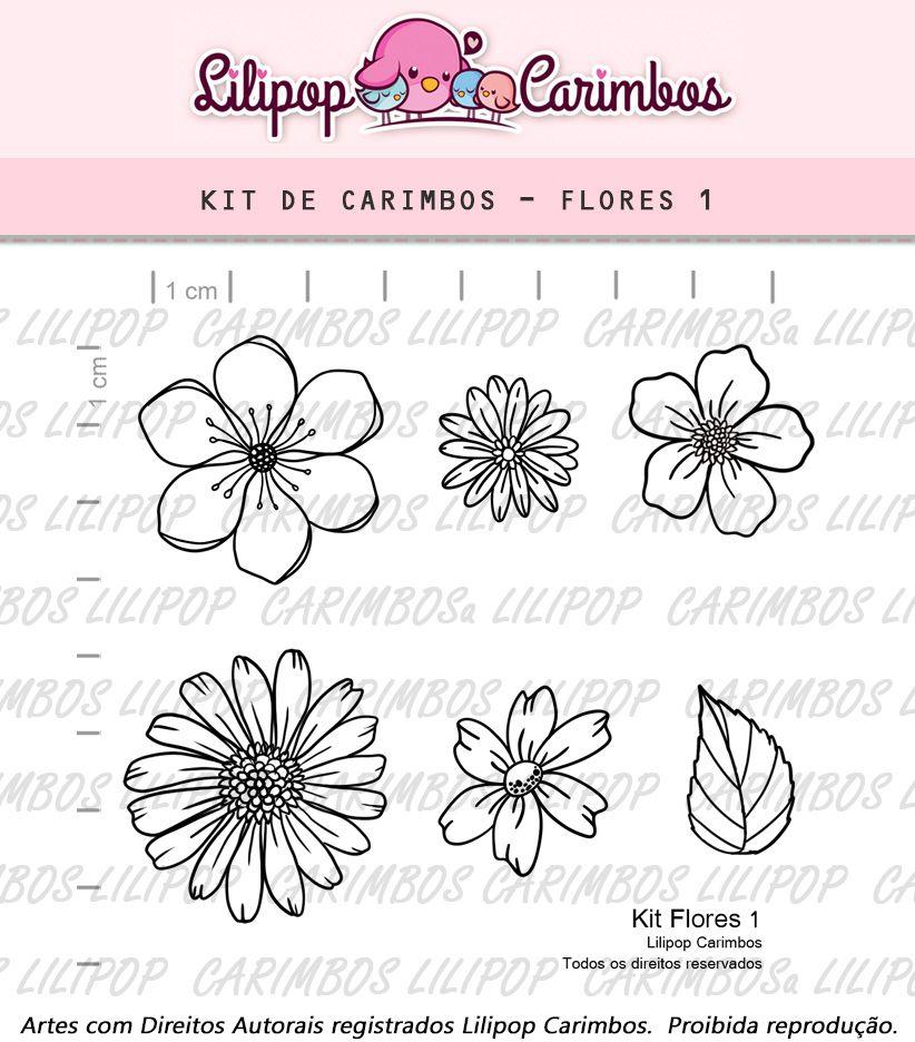 Carimbo - Flores - Scrapbook