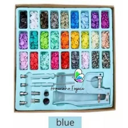 Kit Aplicador de Ilhós + Ritas + Botão Pressão + 300Pcs - Azul