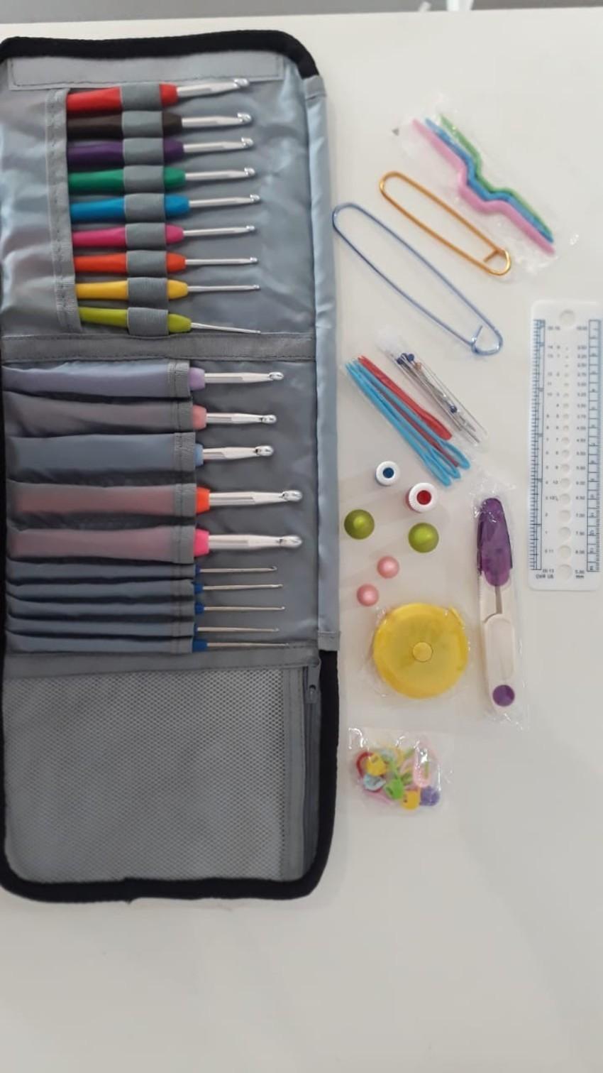 Kit Crochê 19 Agulhas Com Acessórios E Case