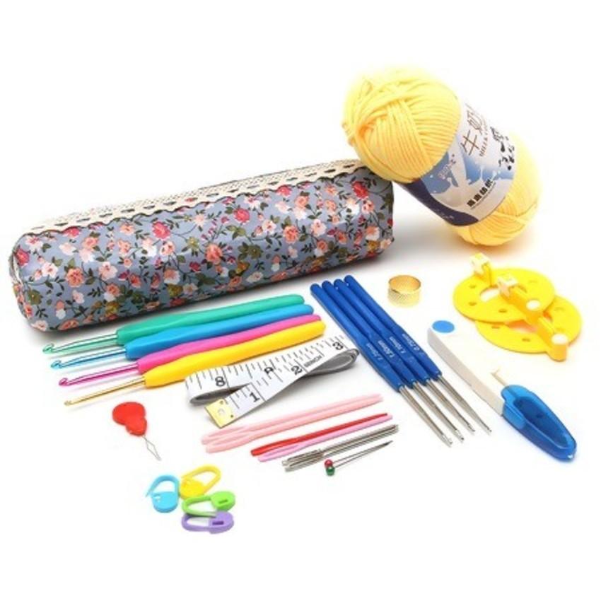 Kit Crochê Premium - Agulhas + Acessórios + Novelo de lã