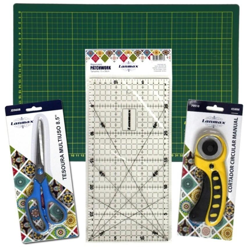 Kit iniciante patchwork Base corte+Tesoura+Cortador+Regua