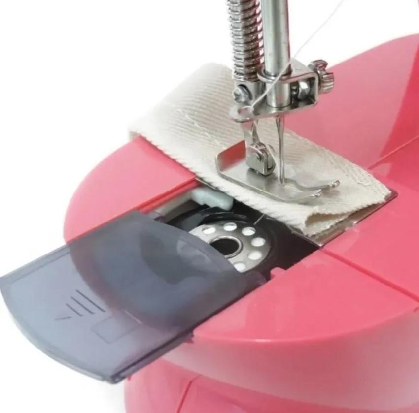 Mini Maquina de Costura com pedal bivolt Portátil - Pink