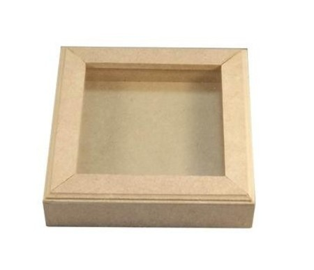 Quadro Scrapbook com Vidro/ 14x14x3,5cm