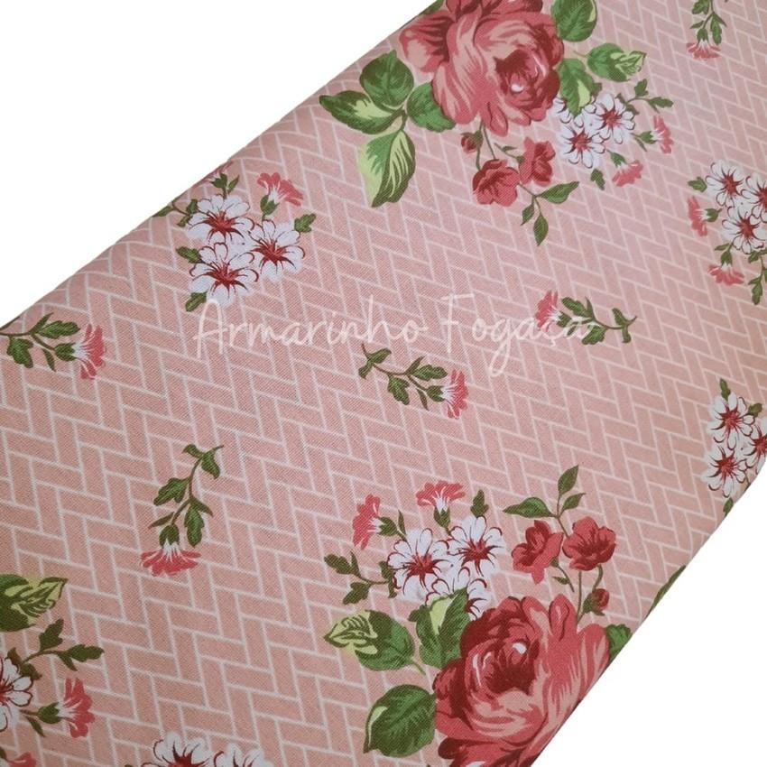 Tecido 100% algodão - 50x75cm - Flores Rosas