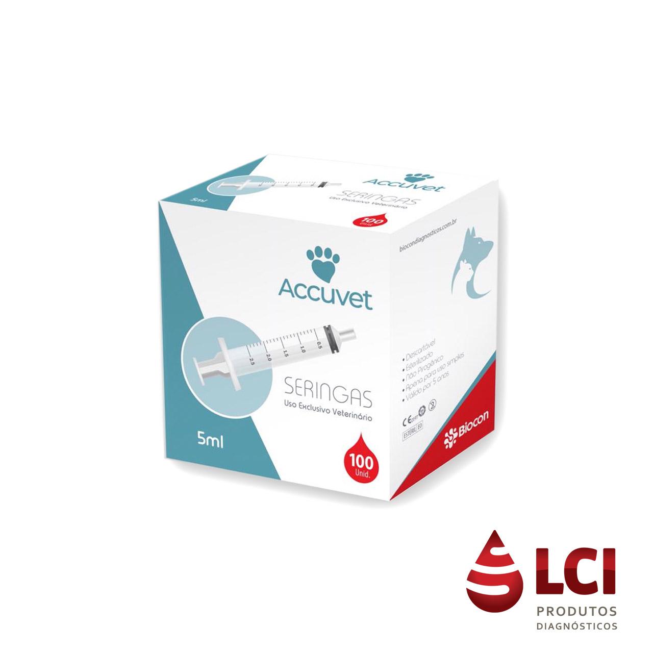 Seringa LS  S/AG  Descartáveis 5ml C/ 100 Accuvet