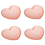 Cj 4 Pratos Cristal Coração Pearl Rosa
