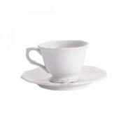 Xícara com pires para chá 200ml - Porcelana Alto Relevo