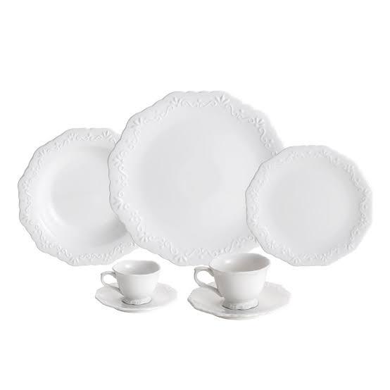Ap de Jantar 42 pçs Porcelana Durable Porcelain Alto Relevo