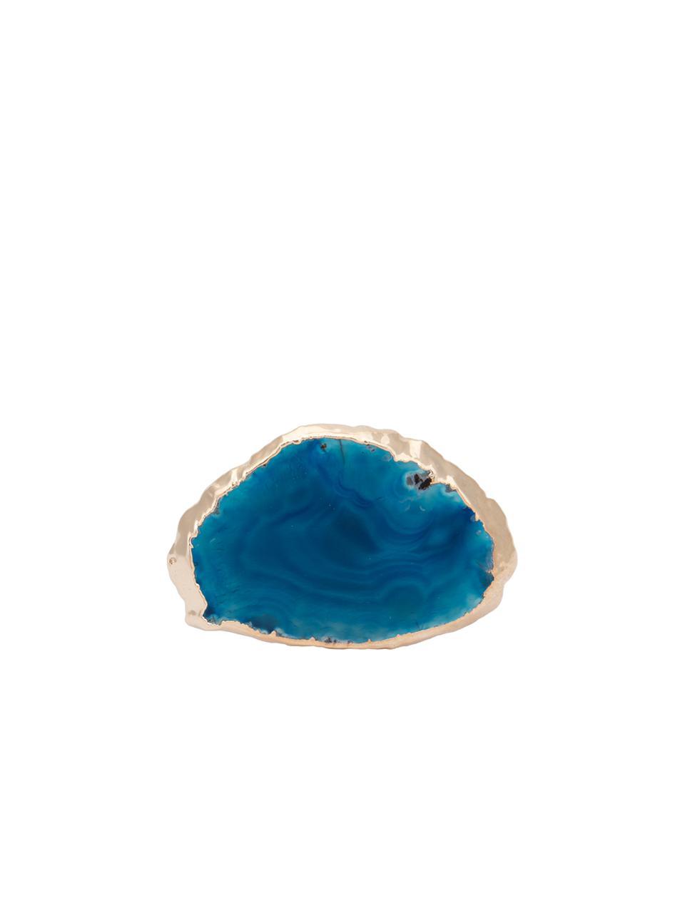 Argola De Guardanapo Em Acrílico Com Pedra Ágata Borda Ouro 1 Peça - Azul