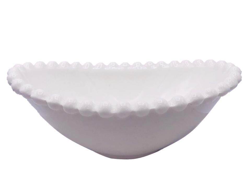 Bowl Canoa Branco bolinha