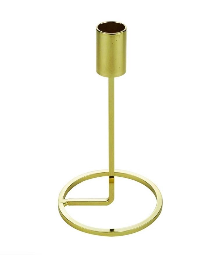 Castiçal Metal Dourado 8x28cm