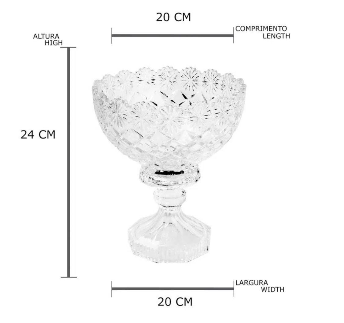 Centro De Mesa Com Pé Em Cristal Lyor Diamond 20x24cm
