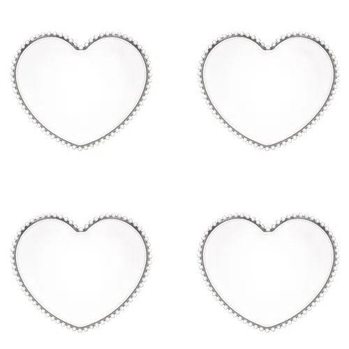 Cj 4 Pratos Cristal Coração Pearl Transparente