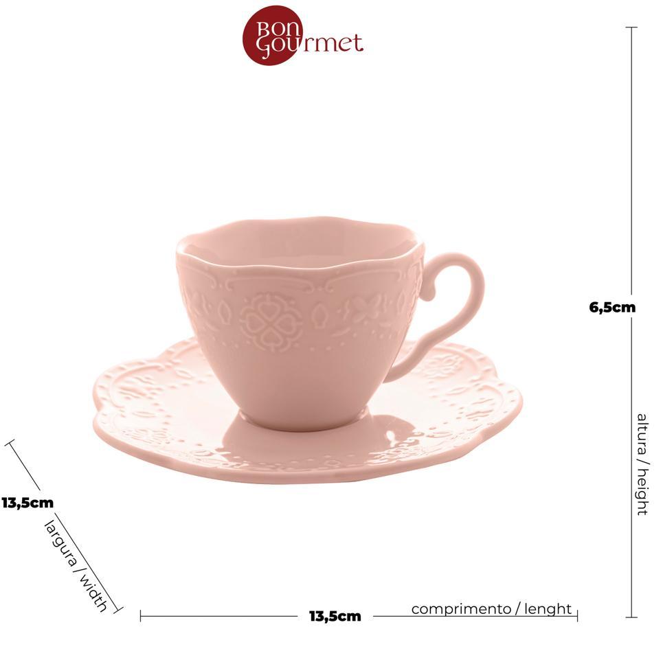 Cj 4 xícaras café porcelana com pires Butterfly rosa