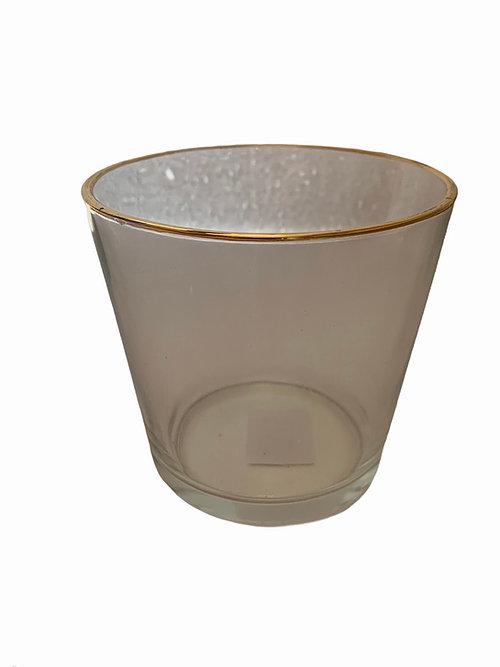 Suporte de Vidro Transparente com borda dourada