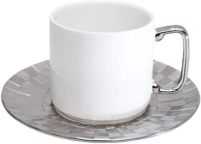Xícara de chá de Porcelana Super White Vera Silver 200ml