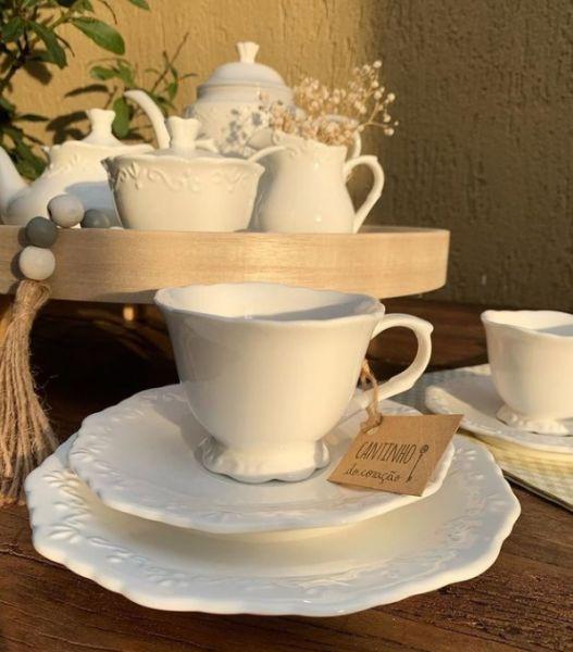 Xícara para café com pires 100ml - Porcelana Alto Relevo