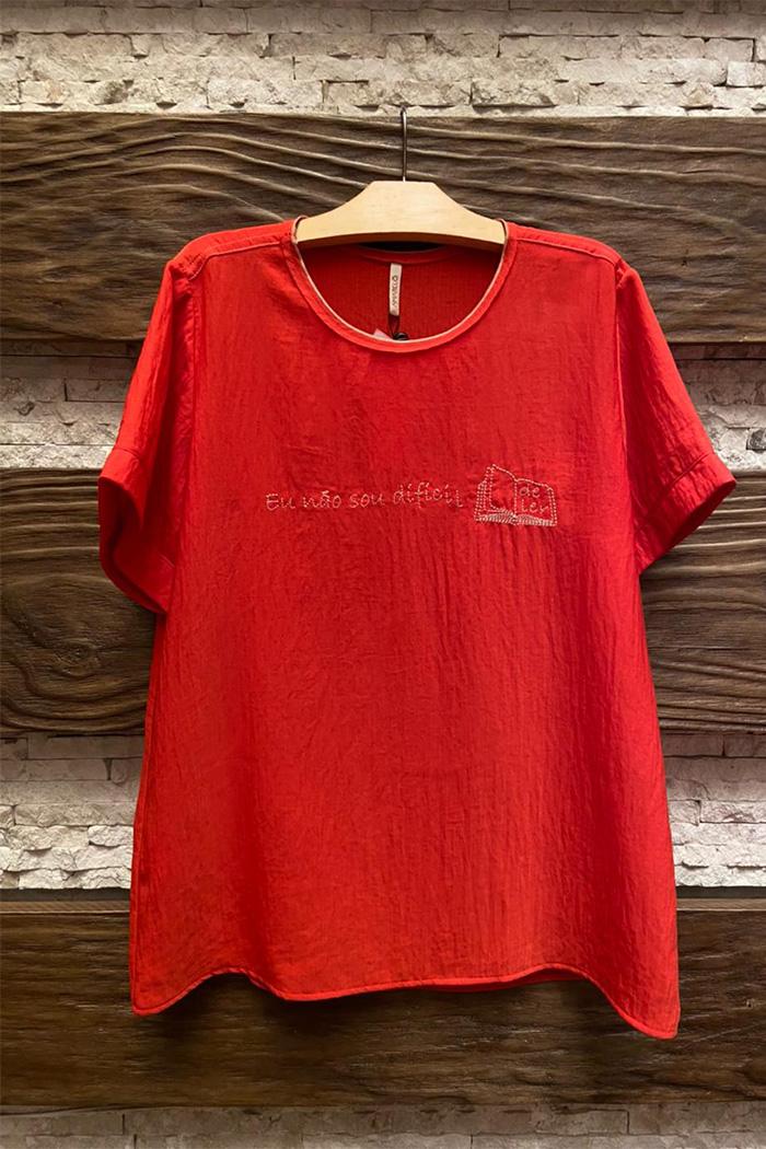 T-shirt Bordada Leitura