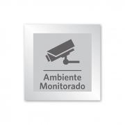 Placa para Ambiente Monitorado - 14 X 14 cm - Prata