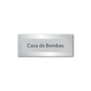 Placa Casa de Bombas - 15 x 6 cm - Prata