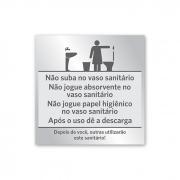Placa de Aviso Banheiro Feminino - 14 x 14 cm - Prata
