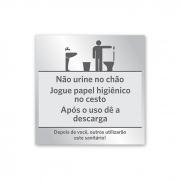 Placa de Aviso Banheiro Masculino - 14 x 14 cm - Prata