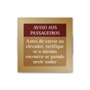 Placa de Aviso de Elevador 10 X 10 cm - Ouro Velho